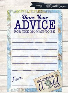 Advice for Mommy Printable, Welcome to the World Baby Shower, Baby Boy Shower, Advice for Mommy-to-Be, Travel Theme, Map, Around the World