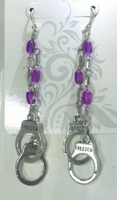 Purple Glass Beaded Handcuff Dangle Earrings by mistydlee on Etsy, $8.00