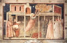 Giotto - parete destra - Storie di San Giovanni Evangelista - 3. Ascensione di San Giovanni, dettaglio - pittura a secco - 1318-1322 circa - Cappella Peruzzi - Basilica di Santa Croce - Firenze