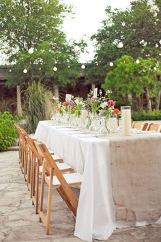 outside dinner party table setting