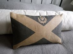 hand+printed+Scottish+Saltire++flag+cushion+cover+by+helkatdesign,+$76.00