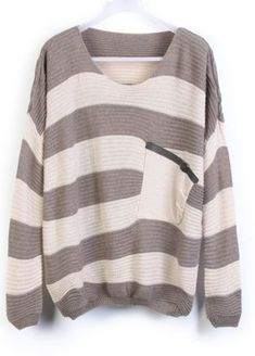Grey Stripes Loose Sweater with Pocket US$25.99