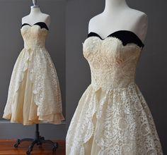 1950's Yellow/Ivory/Black Lace Midi