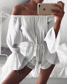 #spring #outfits White Off The Shoulder Marine Striped Playsuit