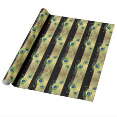 Modern Peacock Feathers Faux Jewel Striped Hearts Gift Wrap Paper