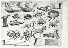 According to an illustration by Mattia Geigher, napkins folded into animals shapes is within the realm of possibilities, including mythological figures, double-headed eagles, dogs, and lions, 1639