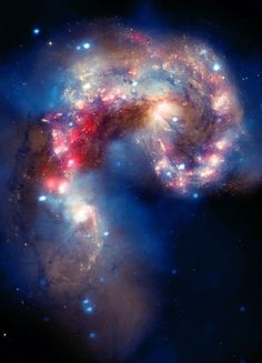 ACEO Antennae Galaxies Miniature Color Astronomy Photograph on Metallic Paper