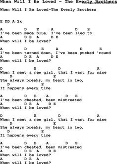 Song When Will I Be Loved by The Everly Brothers, with lyrics for vocal performance and accompaniment chords for Ukulele, Guitar Banjo etc. Guitar Chords And Lyrics, Guitar Sheet Music, Love Songs Lyrics, Music Lyrics, Music Songs, Music Stuff, Karaoke Songs, Guitar Art, Smile Quotes