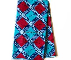 Super Bazin , Wholesale High quality , African Fabric , Red Blue , Supreme Wax , 6 yards  SB20