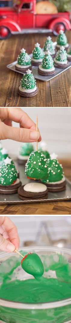 Tiny Christmas tree cookies. Mount adorable and cubby little Christmas trees made out of strawberries dipped in food color on top of your chocolate cookies.