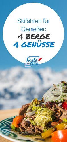 """Eine herrliche Skirunde über 4 Berge zu 4 Hütten mit bestimmt mehr als 4 Genüssen! Auf der Reiteralm wird entspannt und """"Fit in den Tag"""" gefrühstückt. Bei dieser genüsslichen Tour werden aber vor allem Ihre Geschmackssynapsen trainiert - All das natürlich auch in der vegetarischen Variante verfügbar. Skiing, Meat, Ethnic Recipes, Food, Farmers Market, Mountains, Food Food, Ski, Essen"""