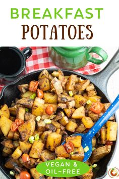 These easy breakfast potatoes make a savory and hearty breakfast that the entire family will enjoy and even be begging for more! #breakfastpotatoes #veganpotatoes #homefriedpotatoes #nooil Home Fried Potatoes, Healthy Potatoes, Vegan Breakfast Recipes, Vegan Recipes, Breakfast Ideas, Breakfast Potatoes Easy, Cheap Vegan Meals, Brunch Casserole, Plant Based Breakfast