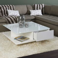 Great coffee table white high gloss with glass top Source by Indoor Zen Garden, Coffee Table 2019, Hall Furniture, Living Room Decor Inspiration, Center Table, Light Table, Table Decorations, Modern, Baby Groot