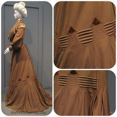 1900 Wool dress with tucks & tab trim - the tab trim can be applied to a modern skirt!