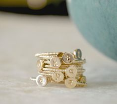 Stacking Initial Rings  GoldFilled Set of Three by fruitionLA, $180.00  (Rose Gold, Size 8)