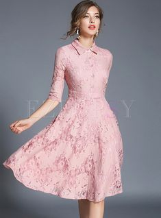 Shop for high quality Brief Lace Splicing Embroidered Turn-down Collar Slim Skater Dress online at cheap prices and discover fashion at Ezpopsy.com