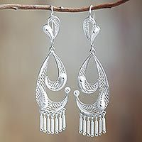 Silver filigree dangle earrings, 'Waves' from @NOVICA, They help #artisans succeed worldwide.
