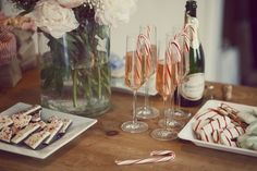 Christmas snacks for show me your Mumu, by Kimberley Gordon. mint champagne, candy cane. Dreamy shabby chic tents, made at home, pink, white, fluffy sleepover ideas.