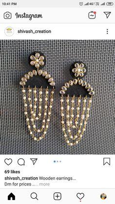 Diy Fabric Jewellery, Thread Jewellery, Funky Jewelry, Handmade Beaded Jewelry, Handmade Jewelry Designs, Paper Jewelry, Metal Jewelry, Silk Thread Earrings, Fabric Earrings