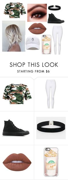 """""""camo"""" by laliew ❤ liked on Polyvore featuring Boohoo, Topshop, Converse, ASOS, Lime Crime and Casetify"""