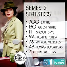 The statistics of Miss Fisher's Murder Mysteries Series 2. #MissFisher #PhryneFisher #behindthescenes