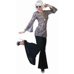 Deguisement disco robe tunique disco noire-argent à paillettes sequin adulte femme.