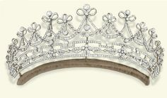 A BELLE EPOQUE DIAMOND TIARA   Designed as a series of graduated old-cut diamond garlands each surmounted by a ribbon bow and diamond collet suspending articulated knife-edge bar and circular-cut diamond drops, above a stylised geometric foliate frieze, mounted in platinum and gold, circa 1905, 23.5 cm inner circumference, in original fitted blue leather case