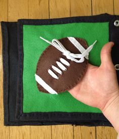"""The Quiet Book Blog: Katie's Quiet Book - """"Catch"""" the football and practice tying the laces"""