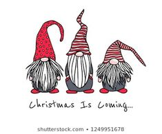 Vector Christmas card with hand drawn cute nisse in high caps. s hand drawn Vector Christmas Card Hand Drawn Cute Stock Vector (Royalty Free) 1249951678 Christmas Gnome, Christmas Art, Vector Christmas, Christmas Card Images, Funny Christmas, Christmas Doodles, Christmas Drawing, Xmas Drawing, Card Drawing