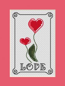 Every day is a good day to express your love.Create this inspirational cross stitch card with two red flowers-hearts and celebrate Valentine's Day by showing appreciation for the people you love or adore. 123 Cross Stitch, Small Cross Stitch, Cross Stitch Cards, Cross Stitch Designs, Cross Stitching, Cross Stitch Embroidery, Cross Stitch Patterns, Crochet Patterns, Crochet Cross