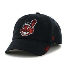 sale retailer 2f8dd dfab7 Cleveland Indians Women s 47 Brand Sparkle Navy Adjustable Hat Cleveland  Indians Hat, Indian Hat,