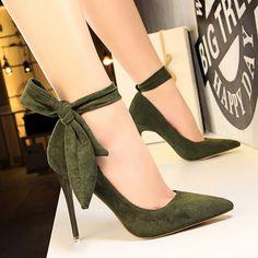Korean Women Pumps Sweet Women Shoes Stiletto High Heel Shoes Ladies Shallow Scarpe Donna Back Bow B High Heel Pumps, High Heels Boots, Cute High Heels, Black High Heels, Lace Up Heels, Stilettos, Pointed Toe Heels, Pumps Heels, Stiletto Heels