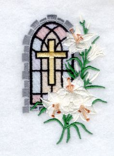Starbird Inc Embroidery Design: Easter Lily Church Window 3.48 inches H x 2.26 inches W