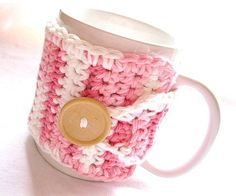Handmade Coffee Mug Cozy Crocheted in Candy by MontanaDaisyGirl