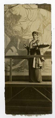 Violet Oakley with mural, photograph, undate