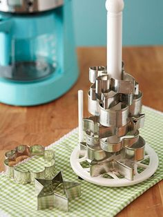 Storage solution....Paper towel holder to store cookie cutters.