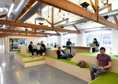 startup office design An indoor village green, bleacher-style seating and a reception desk modelled on a front porch all feature within Airbnbs latest office designs. Creative Office Space, Office Space Design, Workplace Design, Office Interior Design, Office Designs, Office Ideas, Office Plan, Modern Interior, Airbnb Office