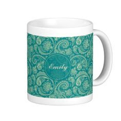 Blue-Green And Beige Creme Vintage Paisley Mug