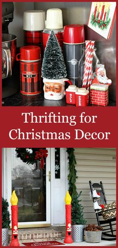 You'd be amazed at what you can find at thrift stores and antique malls for Christmas decor.  Save a few bucks . . .  upcycle . . . decorate in style. I like the thermos collection. not so much on the plastic outdoor candles