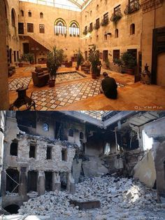 20 photos of the same places, before and after the Syrian war of the city of Aleppo. The oldest city in the world has seen massive amounts of destruction, ruining its beautiful old town. Aleppo Before And After, Broken City, Naher Osten, Funny Meme Pictures, Belle Villa, Before And After Pictures, Old City, Continents, Decir No