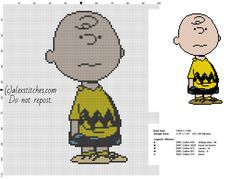 Charlie Brown Peanuts character free cross stitch pattern - free cross stitch patterns by Alex