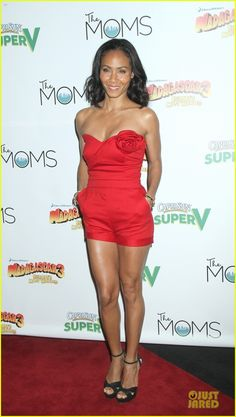Jada Pinkett Smith in a cute red playsuit by Valentino