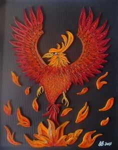 I love how this phoenix turned out.  I was inspired to create it after taking a two year break from quilling.