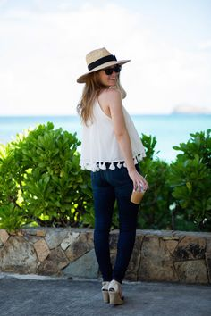 Outfit: Tassel Top In St. Barth'S Prep Style, Classic Style, My Style, What To Wear, Style Inspiration, Fashion Outfits, Stylish, Casual, Blog Design