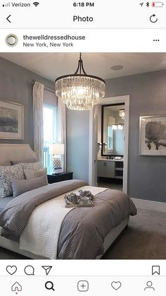 love the color of walls , The light above bed, Nice #LuxuriousBedrooms #LuxuryBeddingLinens