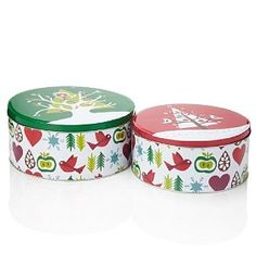 Two christmas tins Novelty Cakes, Cake Tins, Coffee Cans, Folk Art, Christmas, Recipes, Gifts, Painting, Decor