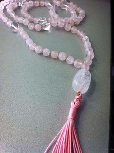 #precious_pagrati #jewellery #handmade #crystals #gemstones #pink_quartz #quartz #mala #necklace