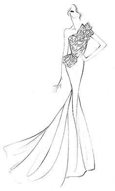 Fashion illustration - evening gown dress sketch