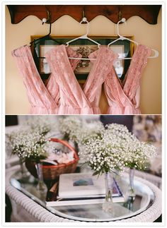 pink lace bridesmaid dresses and baby's breath bouquets