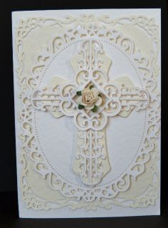 By Sandma. Spellbinders Cross Confirmation Cards, Baptism Cards, First Communion Cards, Spellbinders Cards, Christian Cards, Anna Griffin Cards, Congratulations Card, Pretty Cards, Sympathy Cards